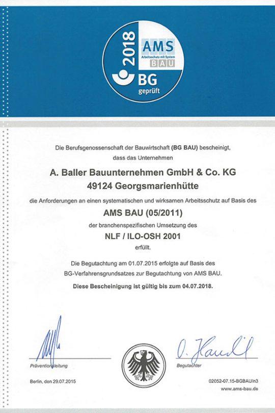 Baller Bauunternehmen - Zertifikat AMS
