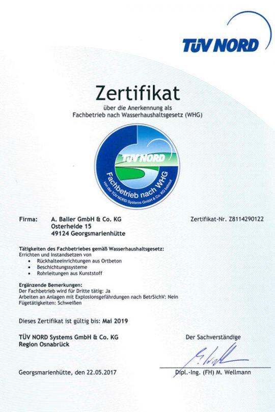 Baller Bauunternehmen - Zertifikat WHG