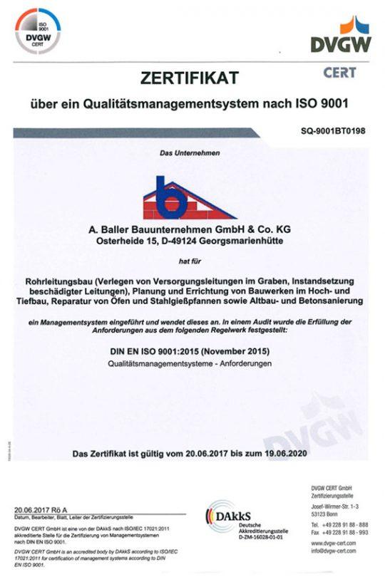 Baller Bauunternehmen - Zertifikat iso9001